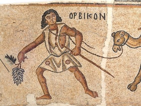 The mosaic of Kissufim near Gaza, depicting Orbikon the camel driver, captures the overland transport of the products of viticulture in the region during Late Antiquity.  Artifactual remnants of the two main components of Orbikon's load – grapes and Gaza jars – further illuminate this phenomenon