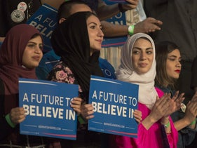 Muslim supporters of Sen. Bernie Sanders during his campaign rally in Riverside, California, during the 2016 campaign.