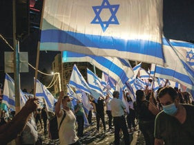 A demonstration in support of Israeli Prime Minister Benjamin Netanyahu, near his residence on Balfour Street in Jerusalem, July 2020