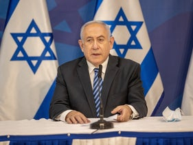 Prime Minister Benjamin Netanyahu at a press conference about growing tension along Israel's northern border, July 27, 2020