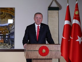 Turkey's President Recep Tayyip Erdogan delivers a televised address to the nation, in Ankara, Turkey, on Friday, July 10, 2020.