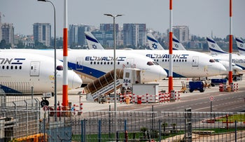 Israeli El Al airline aircraft are seen on the tarmac at Israel's Ben Gurion Airport in Lod, east of Tel Aviv, on July 7, 2020.
