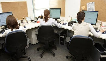 Ultra-Orthodox women at work in a high-tech company in Israel.