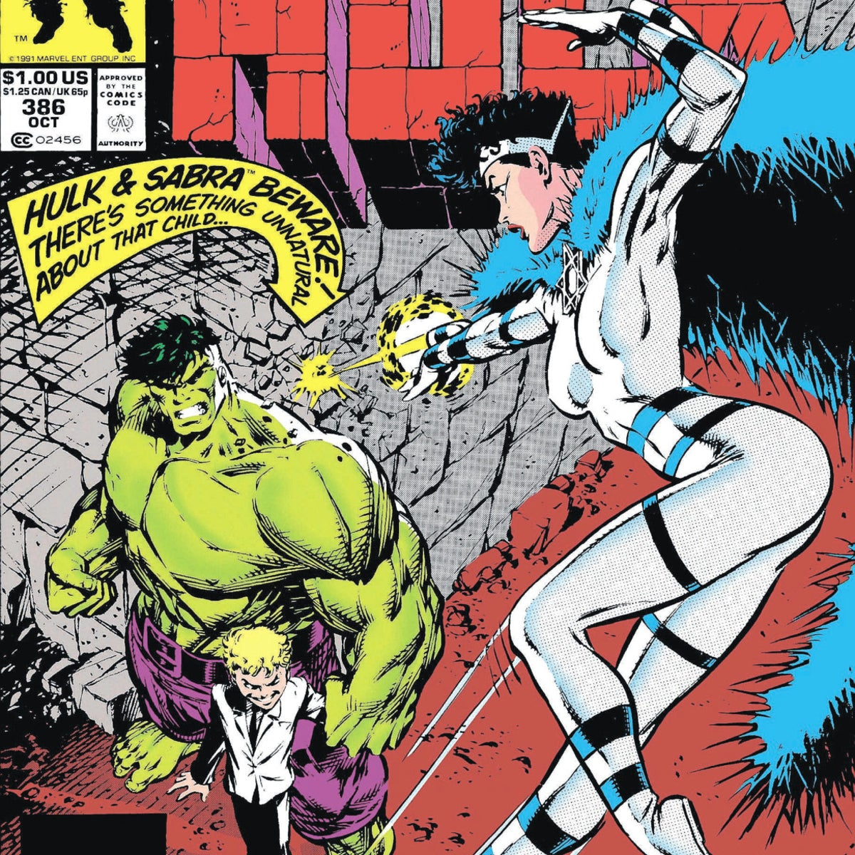 """Sabra on the cover of """"The Incredible Hulk,"""" issue 386, October 1991"""