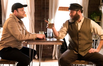 """This image released by HBO Max shows Seth Rogen portraying Ben Greenbaum, left, and Herschel Greenbaum in a scene from """"An American Pickle."""""""