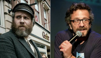 """Left: Seth Rogen in a scene from """"An American Pickle."""" / Right: Marc Maron performs at the Colony Theater during the South Beach Comedy Festival, March 1, 2012."""