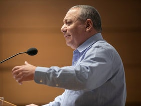 Former IDF chief of staff Gadi Eisenkot speaks during a conference in Tel Aviv, January 22, 2020.