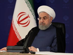 Iranian President Hassan Rohani attends a meeting of the national headquarters of the fight against COVID-19, in Tehran, Iran, July 18, 2020.
