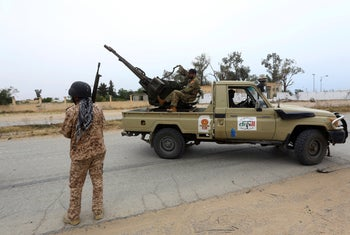 Tripoli government forces clash with forces led by Field Marshal Khalifa Haftar, south of the capital Tripoli, Libya, in May 2019.