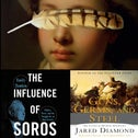 """Clockwise from left: """"Hamnet,"""" """"The Dutch House,"""" """"Rodham,"""" """"Dewey Defeats Truman,"""" """"Guns, Germs, and Steel"""" and """"The Influence of Soros."""""""