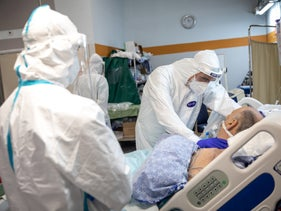 Treating a patient in the coronavirus intensive care ward at Sheba Medical Center in Ramat Gan, July 20, 2020.