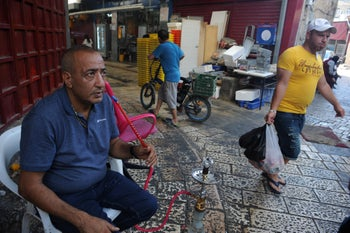 The souk in Acre's Old City, August 1, 2020.