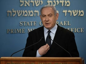Prime Minister Benjamin Netanyahu at a press conference in the Prime Minister's Office in Jerusalem, March 19, 2020.