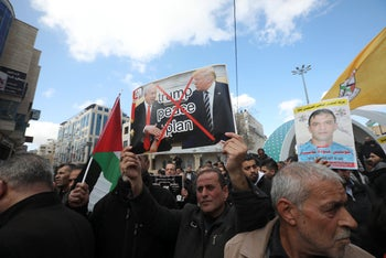 Palestinians demonstrating against Donald Trump's Mideast plan, Hebron, January 2020.