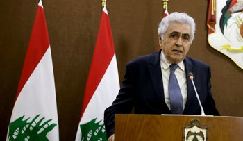 Former Lebanese Foreign Minister Nassif Hitti speaks at a  news conference  in Amman, Jordan, July 2, 2020.