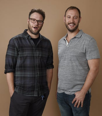 "Seth Rogen and writing partner Evan Goldberg. The two met in a ""Tallis and Tefillin class."""
