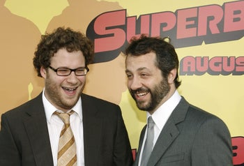 "Seth Rogen and Judd Apatow at the premiere of ""Superbad"" in 2007."