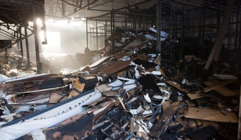 A factory in southern Israel hit by a rocket fired from the Gaza Strip, November 13, 2019.