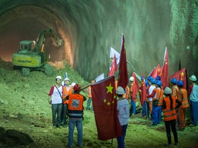 Chinese workers at the construction site for a new tunnel in northern Israel, April 2014.