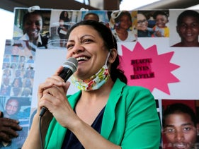 U.S. Rep. Rashida Tlaib (D-Mich) addresses a rally protesting against racial inequality in Detroit, Michigan, U.S. on June 6, 2020.