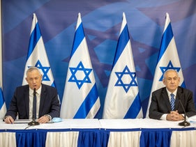 Netanyahu and Alternate PM and Defense Minister Benny Gantz during a joint statement, July 27, 2020.
