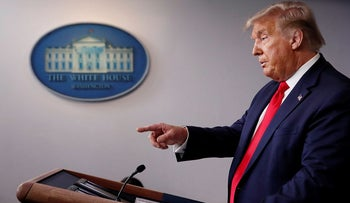 President Donald Trump speaks during a briefing with reporters in the James Brady Press Briefing Room of the White House, Monday, Aug. 3, 2020, in Washington