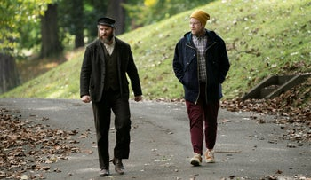 """Seth Rogen playing the dual roles of Ben and Herschel Greenbaum in """"An American Pickle."""""""