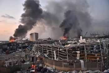 Picture taken on August 4, 2020 shows a general view of the scene of an explosion at the port of Lebanon's capital Beirut.