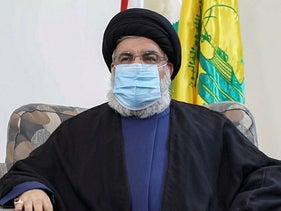 An image grab taken from a video posted on Hezbollah's al-Manar TV website on July 25, 2020, shows Hassan Nasrallah.