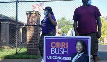 Missouri Democratic congressional candidate Cori Bush celebrates after casting her ballot on August 4, 2020 at Gambrinus Hall in St Louis, Missouri