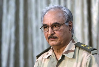 Libyan war lord Khalifa Haftar attends a news conference at a sports club in Abyar, a small town to the east of Benghazi. May 17, 2014.