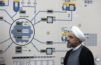 President Hassan Rohani visits the Bushehr nuclear power plant just outside of Bushehr, Iran, January 13, 2015.