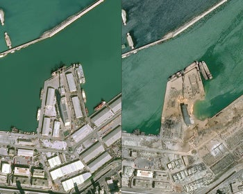 A view of the port of Beirut on January 25, 2020 (L) and on August 5, 2020 a day after a blast that killed more than 100 people and wounded thousands.