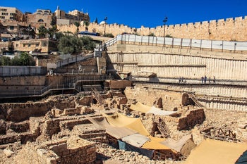 The archaeological dig in Jerusalem's City of David, where the burned house (under the tenting) is located