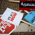 Placards lie on the ground during a protest against Prime Minister Benjamin Netanyahu's plan to annex parts of the Jordan Valley, Tel Aviv, June 6, 2020.