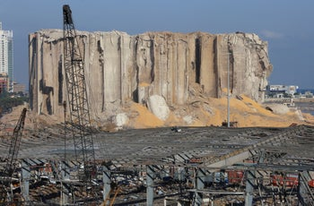 A view of the damaged grain silo following Tuesday's blast in Beirut's port area, Lebanon, on August 7, 2020.