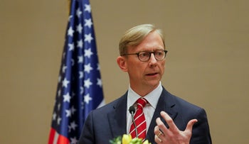 U.S. Special Representative for Iran Brian Hook speaks during a news conference in Manama, Bahrain, on June 29, 2020.