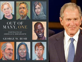 "This combination photo shows the cover image for ""Out of Many, One: Portraits of America's Immigrants"" by George W. Bush, left, and a photo of former President George W. Bush"