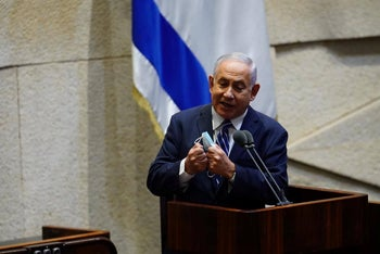 Prime Minister Benjamin Netanyahu speaking at the Knesset, August 5, 2020.