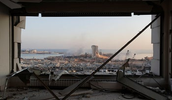 A destroyed port after a massive explosion is seen in Beirut, Lebanon, Wednesday, August 5, 2020