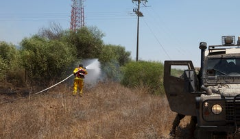 Fire sparked by explosive-laden balloon flown from Gaza, The Israeli side of the border, August 7, 2020.