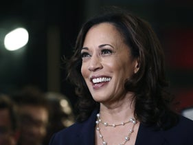 Then-U.S Democratic Party presidential candidate Sen. Kamala Harris, in Miami, June 27, 2019