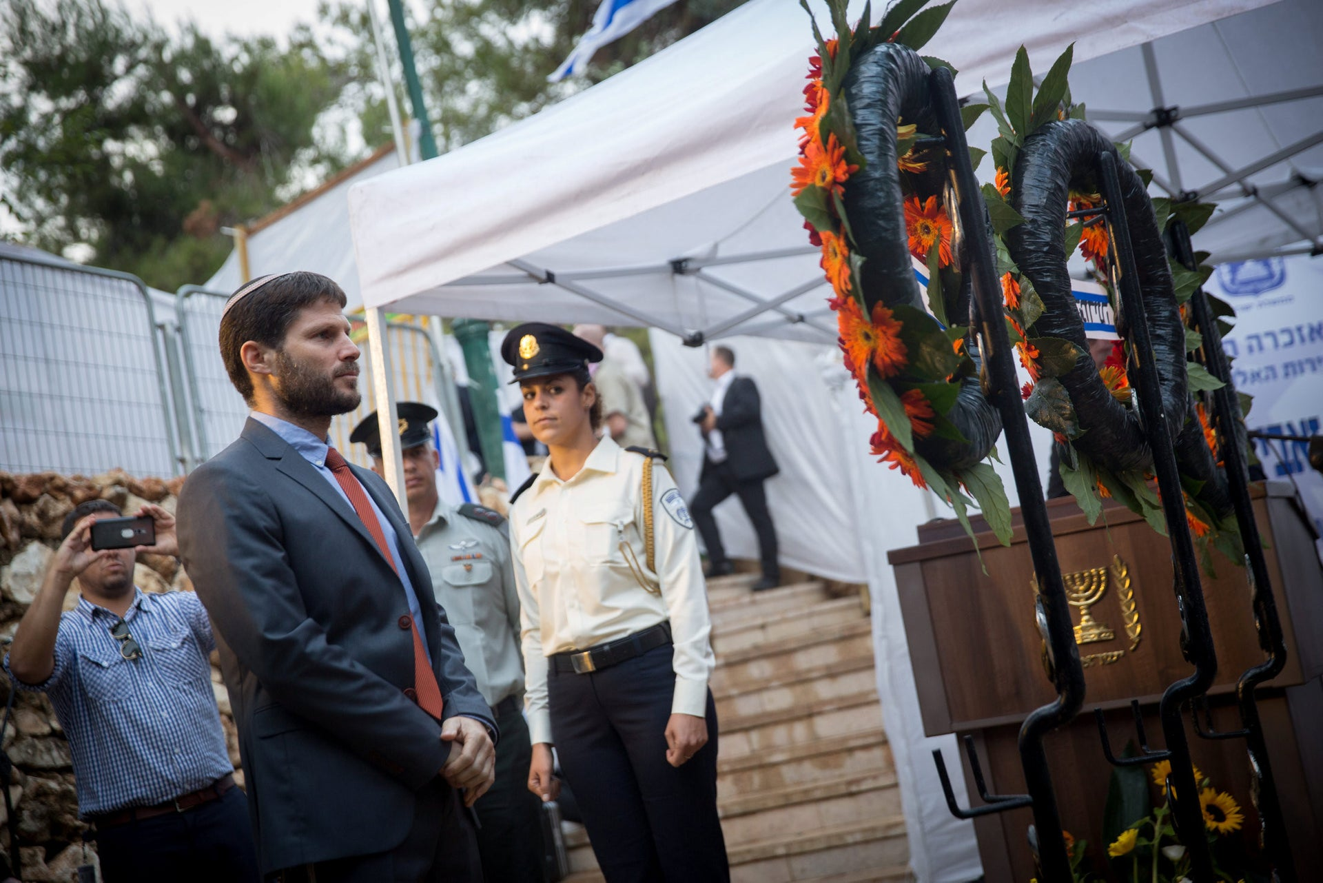 MK Bezalel Smotrich at a memorial ceremony for assassinated Minister Rehavam Ze'evi in 2016.
