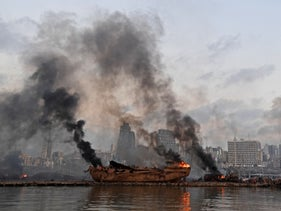 Ship on fire following the August 4 blast in Beirut port