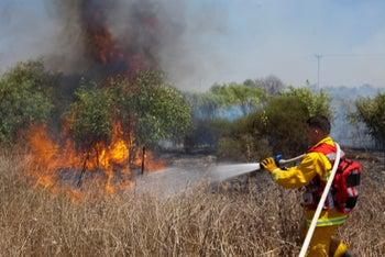 A fire in the Gaza border area on August 7, 2020.