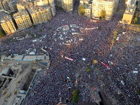 Opponents of Egypt's ousted President Mohammed Morsi protest at Tahrir Square in Cairo, Egypt, July 26, 2013.