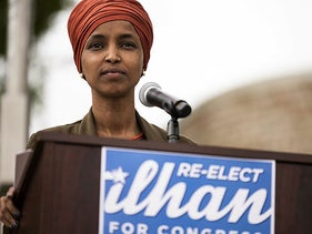Rep. Ilhan Omar (D-MN) speaks during a press conference outside the DFL Headquarters on August 5, 2020 in St Paul, Minnesota.