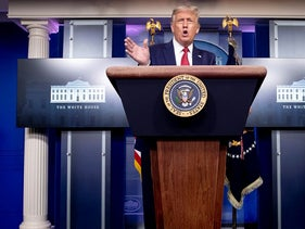 President Donald Trump arrives for a news conference in the James Brady Press Briefing Room at the White House, Monday, Aug. 10, 2020, in Washington
