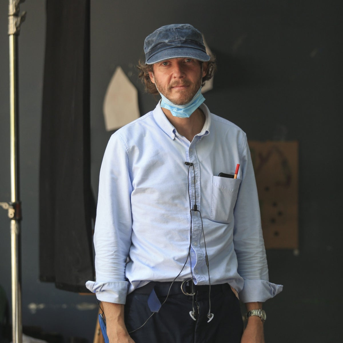 """American director Jake Paltrow, on the set in Jaffa, Israel, shooting the movie """"The Oven,"""" August 2020"""