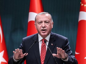 Turkish President Recep Tayyip Erdogan speaks to members of the press after a cabinet meeting at the Presidential Complex in Ankara on August 10, 2020.